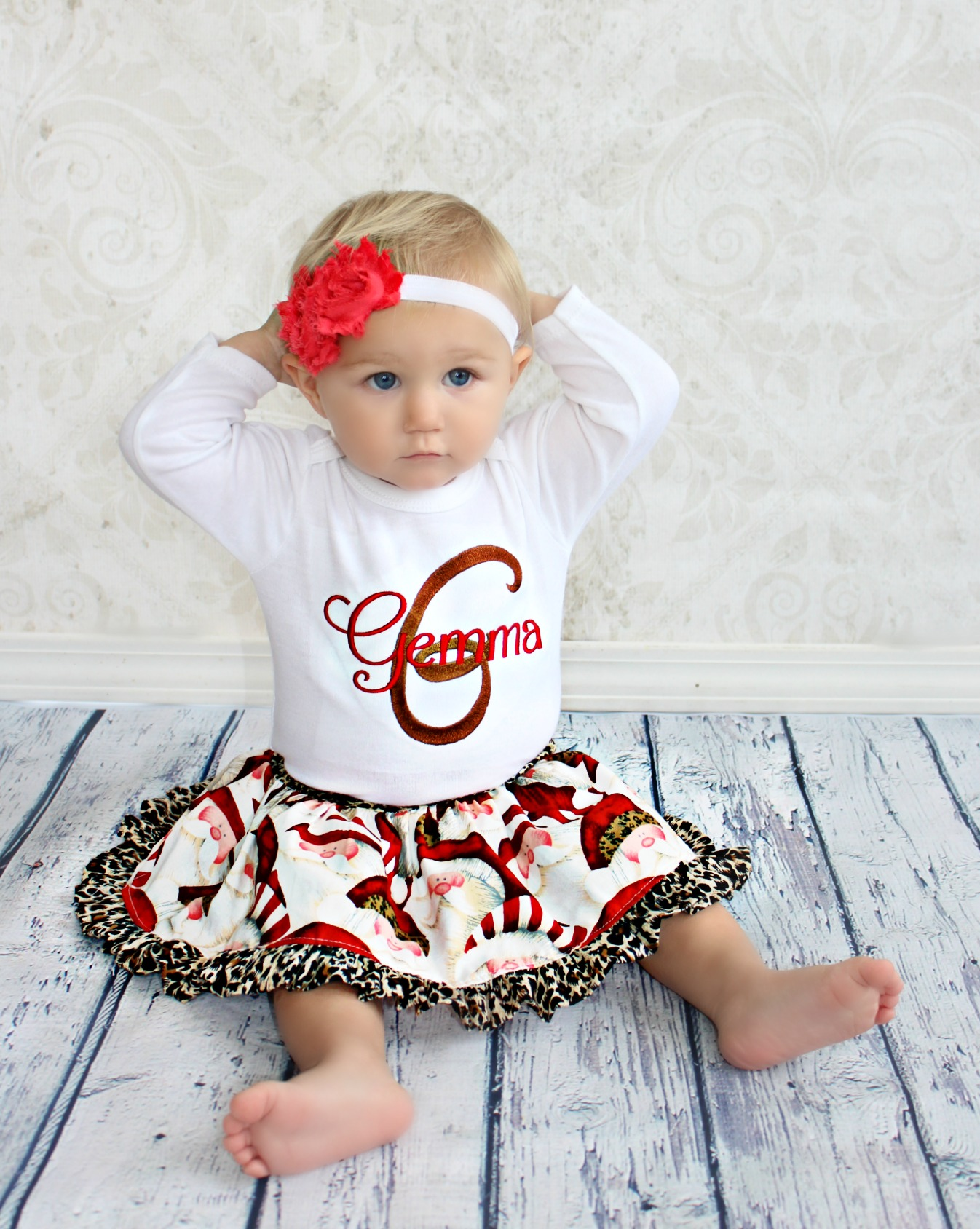 Personalized Christmas Outfit For Baby Girls