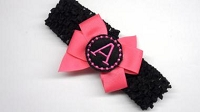 Monogrammed Baby Headband Hot pink and Black