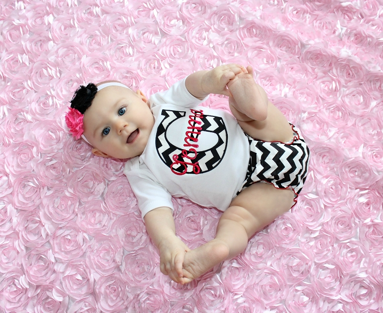 Personalized Baby Girl Clothes Black Chevron Hot Pink