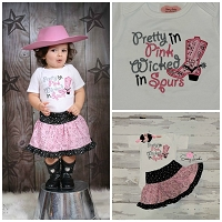 Cowgirl Outfit  / Pretty in Pink Wicked in Spurs Skirt Outfit