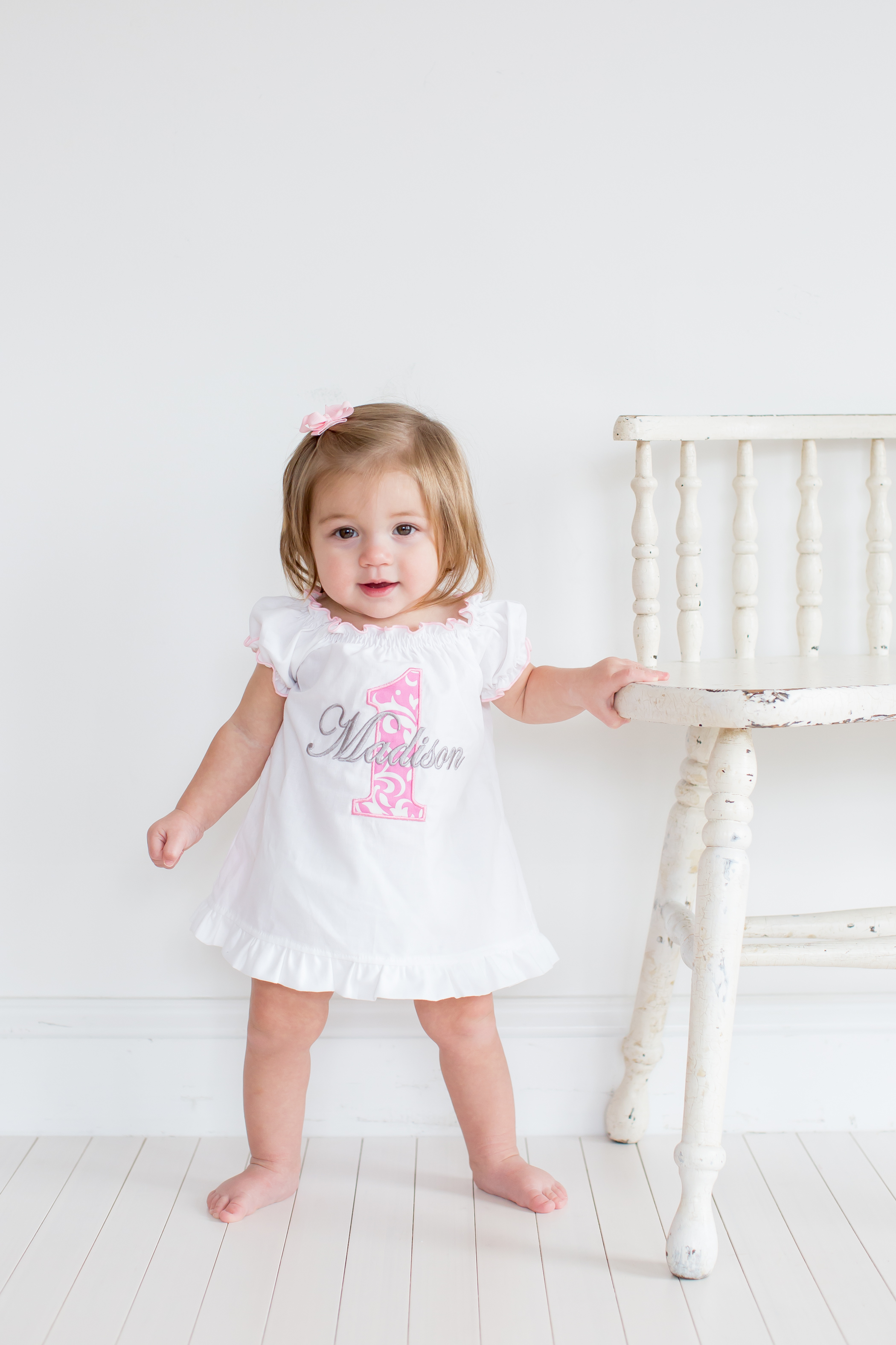 Girl First Birthday Outfit Pinterest: Baby Girl First Birthday Dress Pink Damask 1