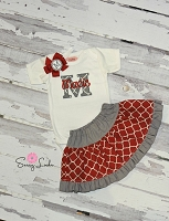 Personalized Baby Girl Clothes / Red Quatrefoil & Gray Skirt Outfit