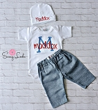 Baby Boy Clothes / Denim Look Pants & Personalized Bodysuit and Hat