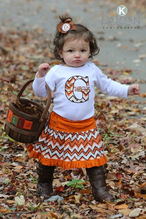Personalized Baby Girl Clothes Brown And Orange Chevron