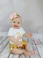 Personalized Baby Girl Clothes / Shabby Chic Pink and Gold Shorts