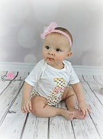 Personalized Baby Girl Clothes / Shabby Chic Pink and Gold Dots