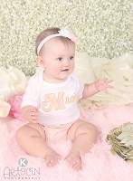 Personalized Baby Girl Clothes / Shabby Chic Lace Pink and Gold