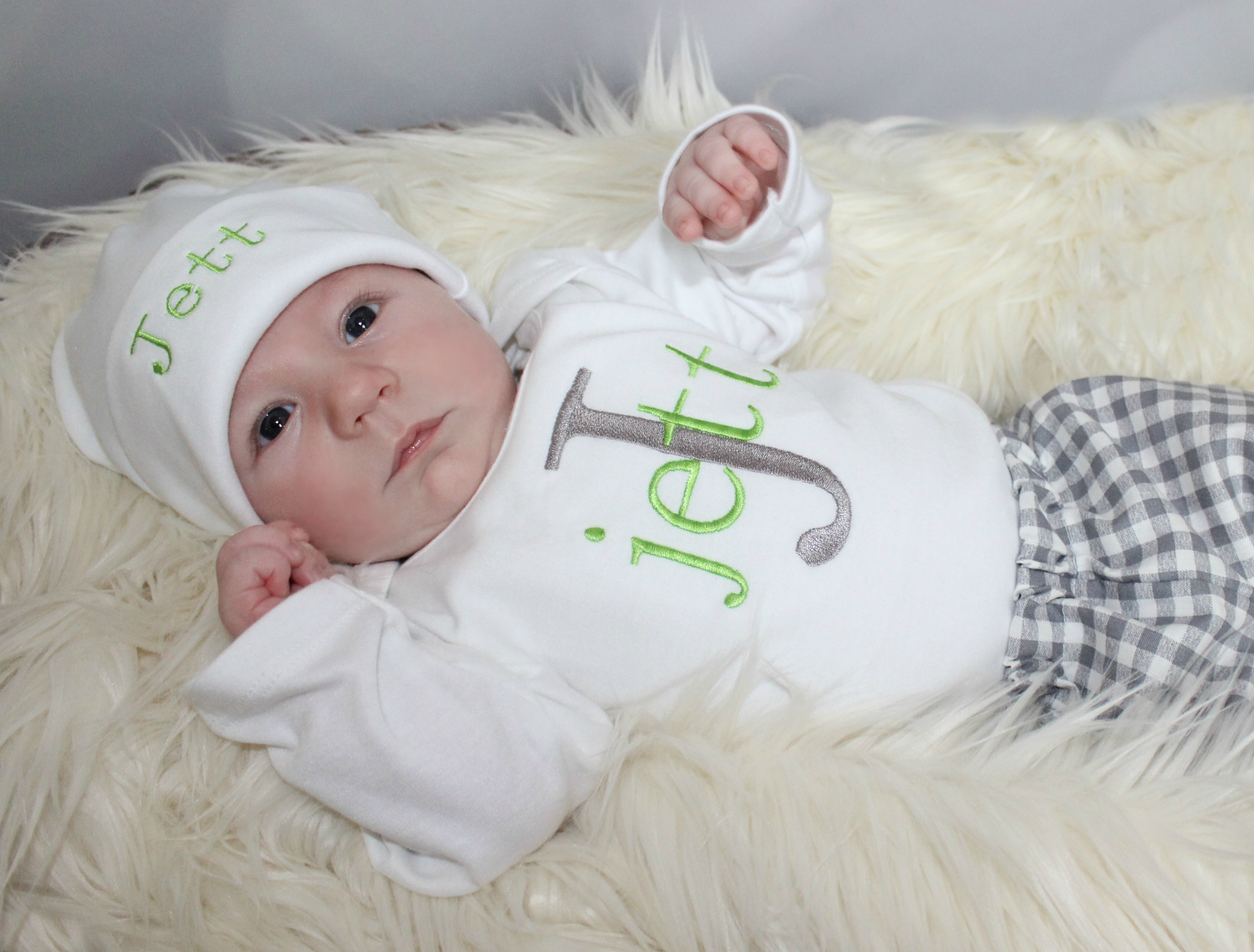Monogram Personalized Boy Outfit Gray Amp Lime Green