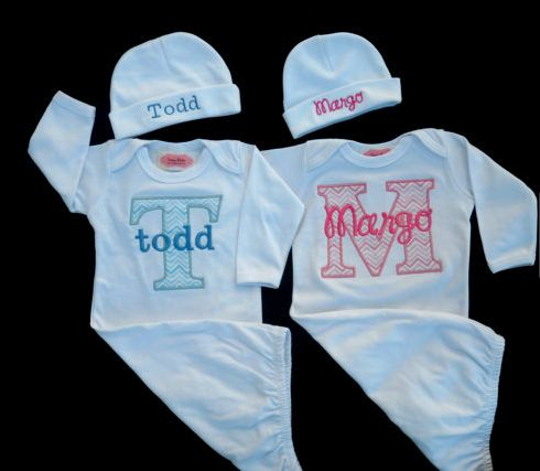 Twins take home outfit chevron baby monogram layette quick view negle Choice Image