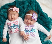 Twin Girls Take Home Outfit Chevron Baby Monogram Layette Gowns Personalized  Boy Girl Twins Gift Set