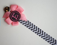 Personalized Pacifier Clip Pink and Gray Chevron Monogram Baby Girl