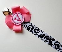 Damask Monogram Pacifier Clip Holder Baby Girl