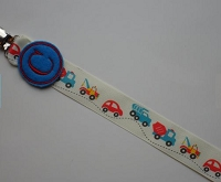Monogram Pacifier Clip for Baby Boy Pacifier Clip Cars and Trucks