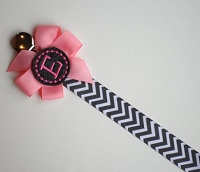 Personalized Pacifier Clip Pink and Gray Chevron Monogram Baby Girl Soothie Personalized Baby Pacifier Holder