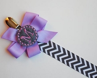 Personalized Pacifier Clip Lavender and Gray Chevron Monogram Baby Girl Soothie Personalized Baby Pacifier Holder