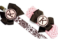 Damask Monogram Pacifier Clip and Headband Baby Gift Set Pink and Brown