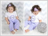 Baby Girl Clothes / Lavender & Gray Pants Outfit