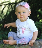 Monogram Baby Girl Outfit  Pink & Gray
