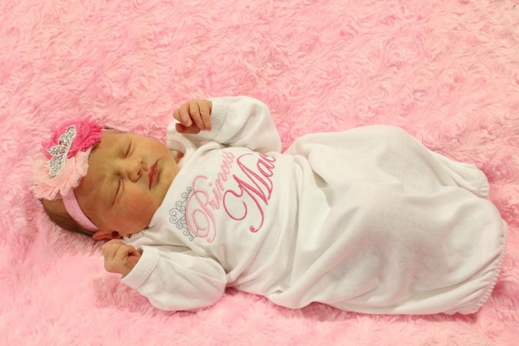 Personalized Baby Girl Layette Gown / Little Princess Layette Gown