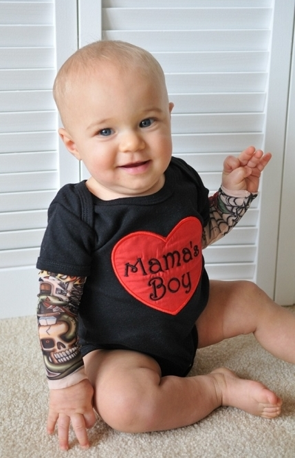 Baby Boy Tattoo Sleeve Bodysuit Sassy Locks