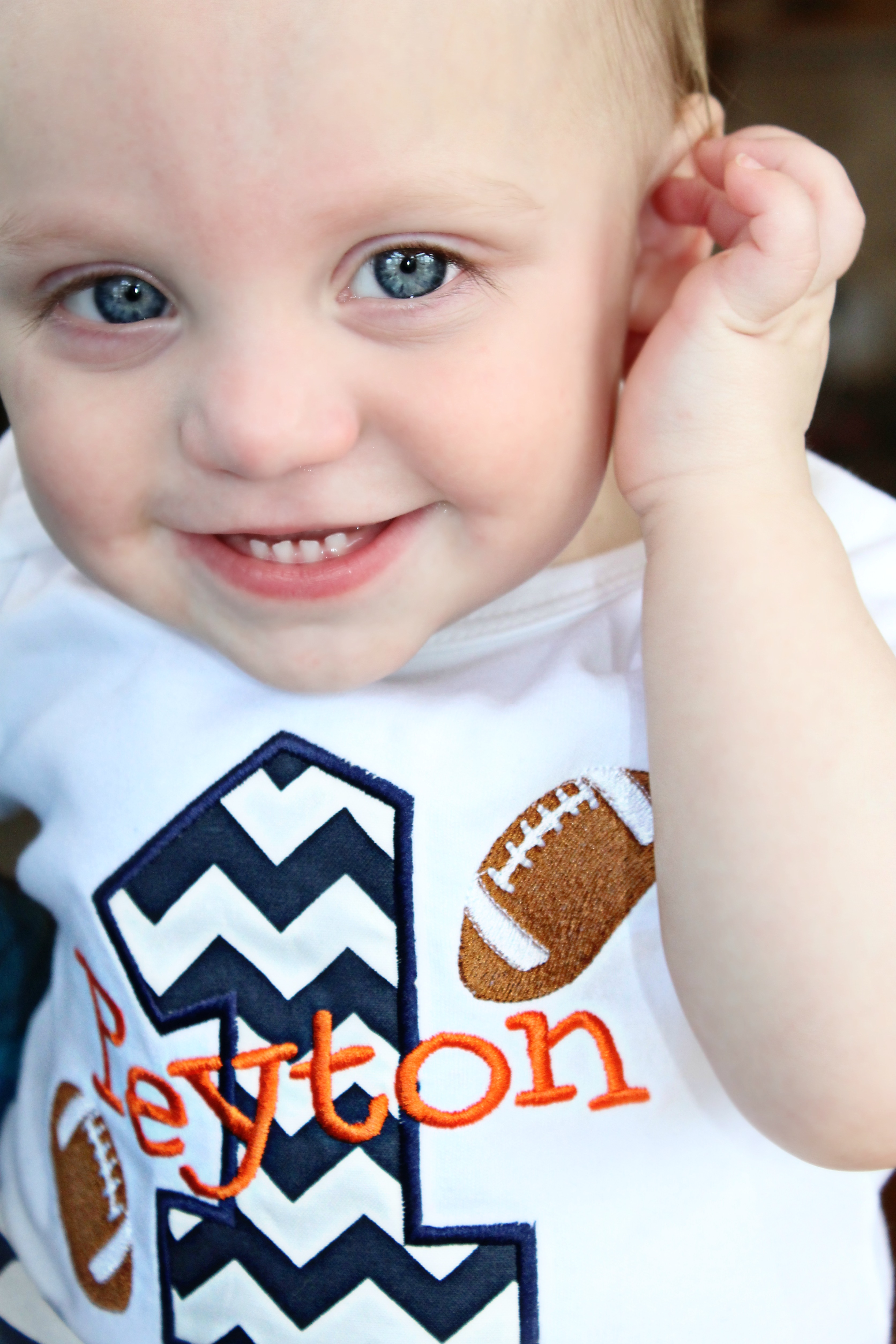 Personalized Baby Boys First Birthday Outfit Football