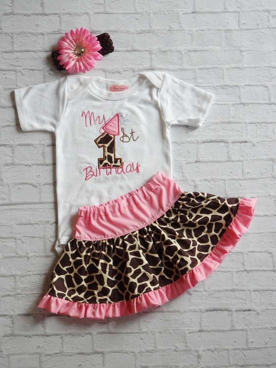 Embroidered Giraffe Print Baby Girl\'s 1st Birthday Outfit | Sassy Locks