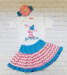 Chevron Baby Girl First Birthday Outfit / Chevron Print