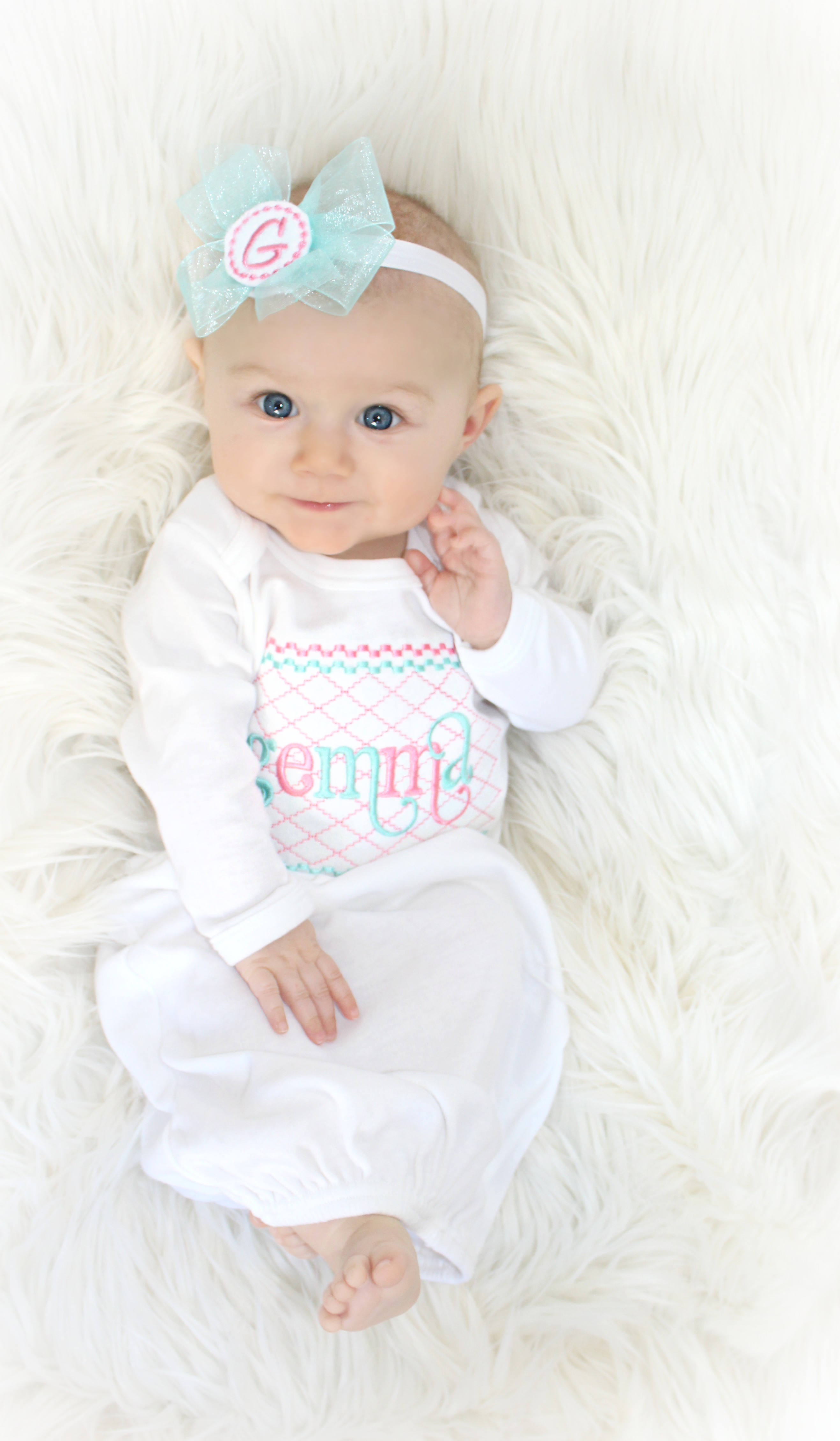 Personalized Baby Girl Shabby Chic Layette Gown