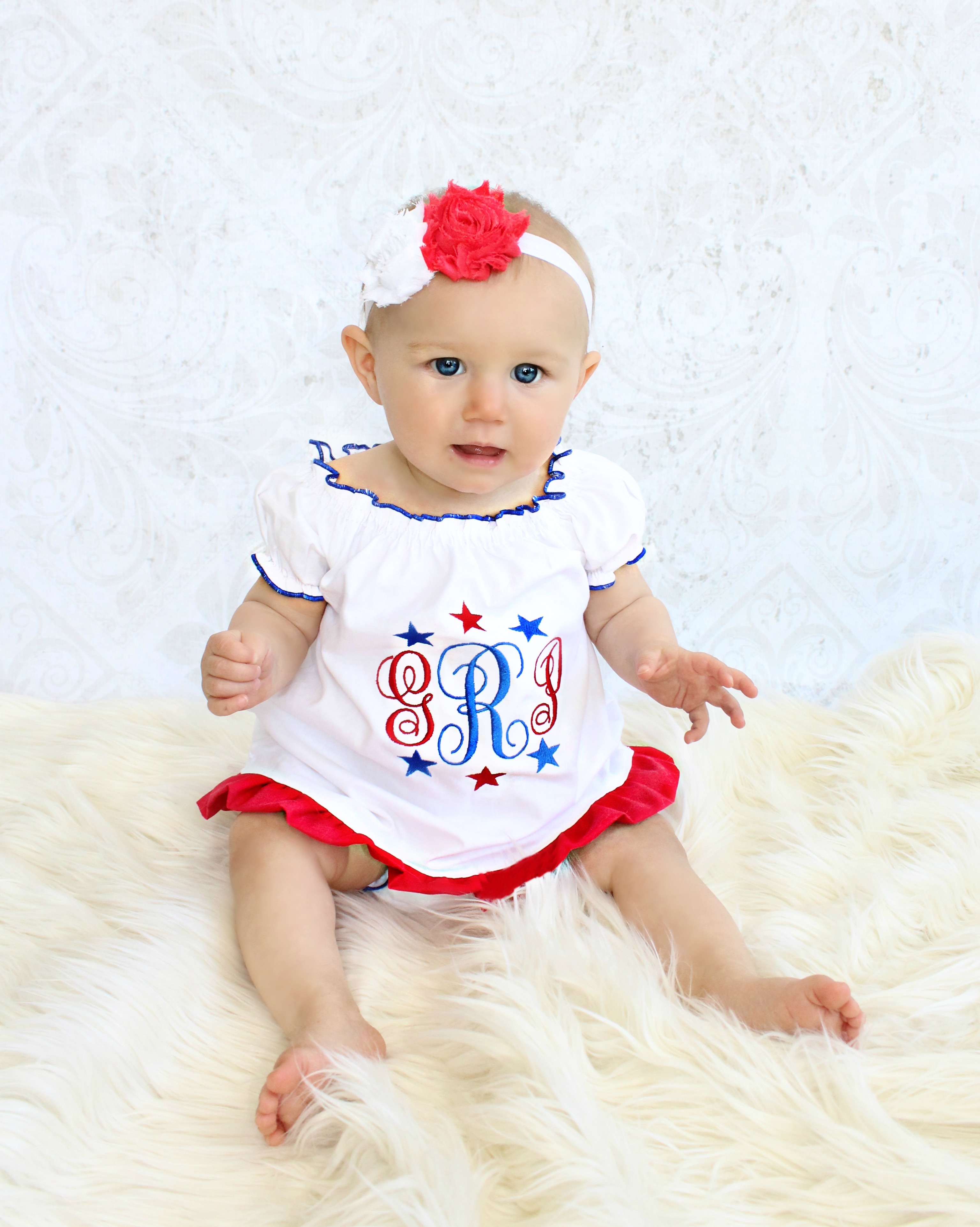 4th of July Monogram Baby Girl Dress Red White & Blue Stars