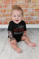 Baby Boy Tattoo Sleeve Bodysuit / Ladies Mr. Right Has Arrived