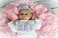 Personalized Baby Girl Layette Gown & Bonnet Set