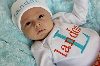Personalized Boy Outfit / Orange & Turquoise
