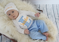 Personalized Baby Boy Outfit / Blue & Orange