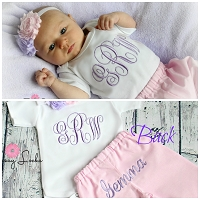 Monogrammed Baby Girl Pants Outfit