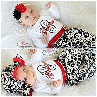 Personalized Baby Girl Layette Gown / Damask Black & Red