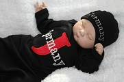 Newborn Baby Boy Personalized Gown / Black,Red & Silver