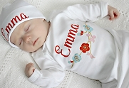 Baby Girl Personalized Gown with Beautiful Flowers  / Coral Floral Print