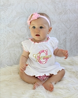 Personalized  Baby Girl Dress / Headband & Bonnet Options Pink & Gold