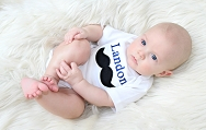 Personalized Mustache Baby Boy Clothes Embroidered Bodysuit with Mustache & First Name