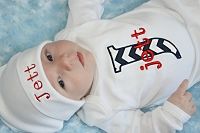 Personalized Baby Boy Clothes / Navy  Chevron & Red