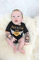 Baby Boy Tattoo Sleeve Bodysuit / Born to Ride with Dad