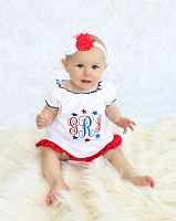 4th of July Monogram Baby Girl Dress / Red White & Blue Stars