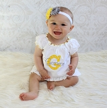 Personalized  Baby Girl Dress / Headband & Bonnet Options Yellow & Gray