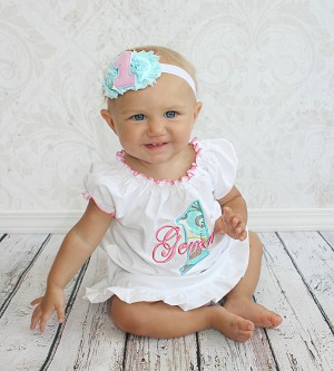 Baby Girl First Birthday Dress Pink & Teal
