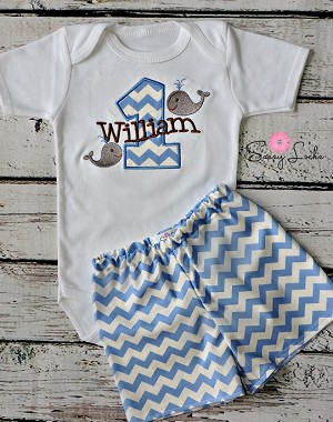 Personalized Baby Boys First Birthday Outfit / Whales