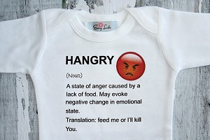 "Gender Neutral Baby Gift Baby Boy Gift Baby Girl Gift Bodysuit "" Hangry"" Definition"
