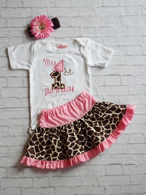 Embroidered Giraffe Print Baby Girls 1st Birthday Outfit