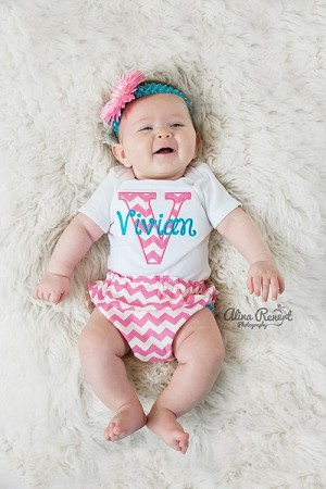 Pink Amp Turquoise Chevron Monogrammed Baby Girl Outfit