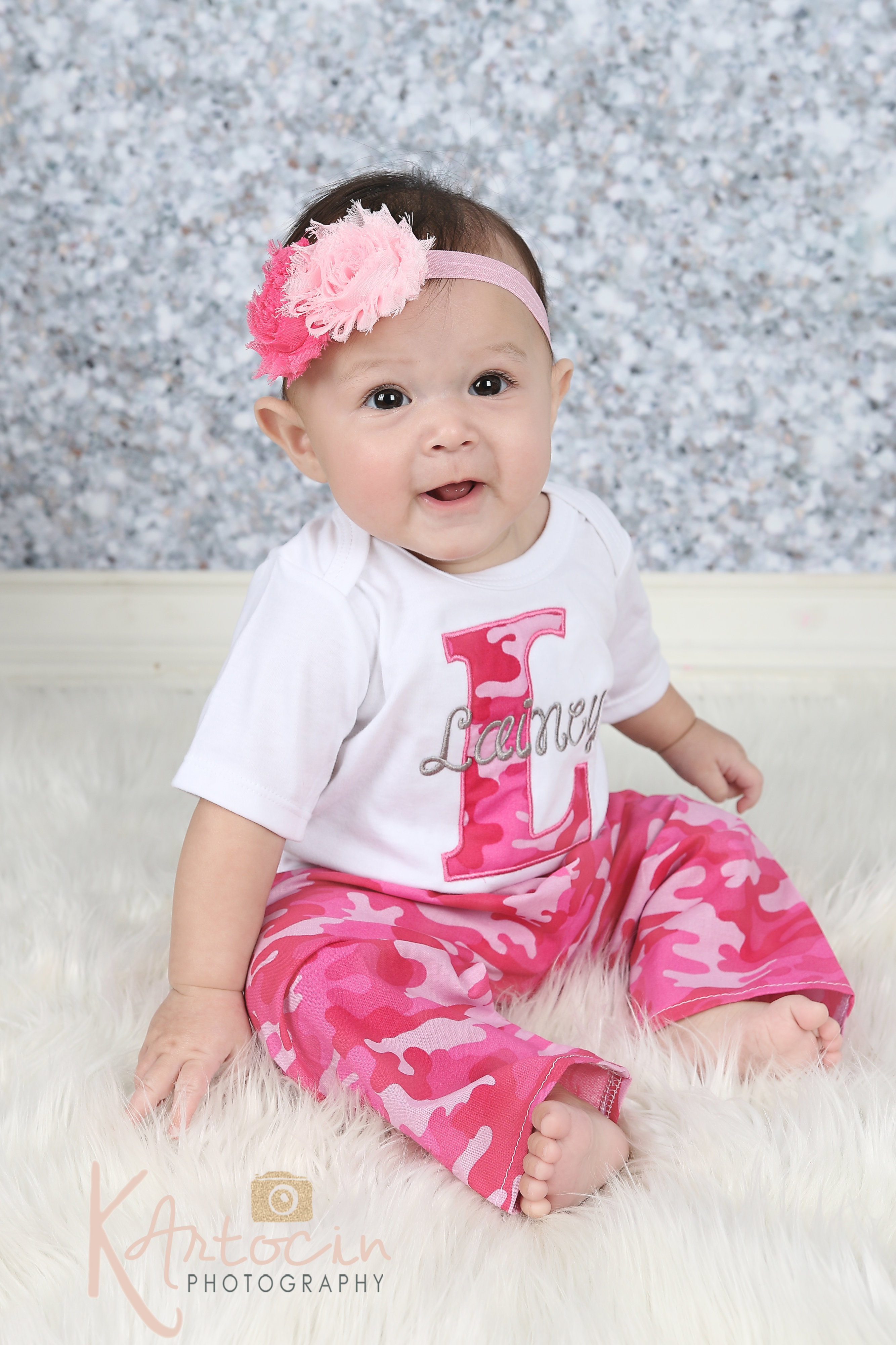 5977ab719d9d Personalized Baby Girl Clothes / Pink Camo Pants Outfit