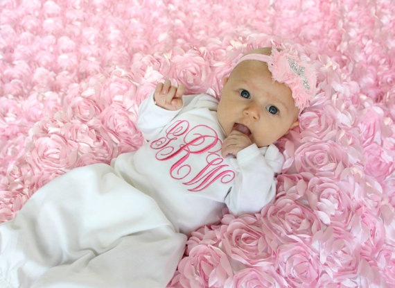 95a47f0ea Monogrammed Baby Girl Layette Gown & Bonnet Option